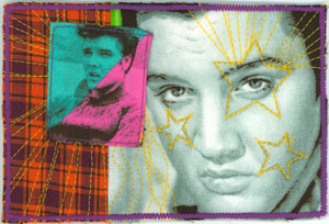 Elvis fabric post card.