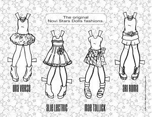 Novi Star wardrobe, in black line art.