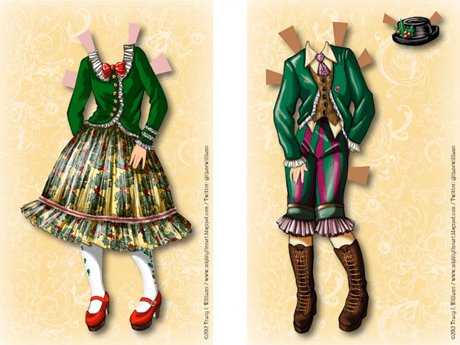 Basic Lolita costume and green Kodona Lolita suit.