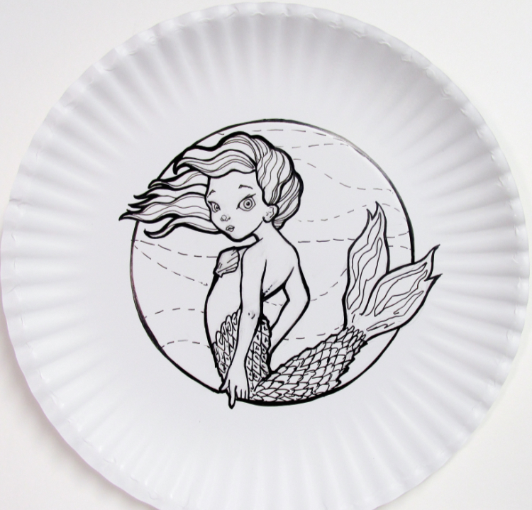 2020 MerMay mermaid drawing on a paper plate.
