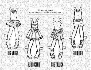 Novi Star wardrobe, in black line art.
