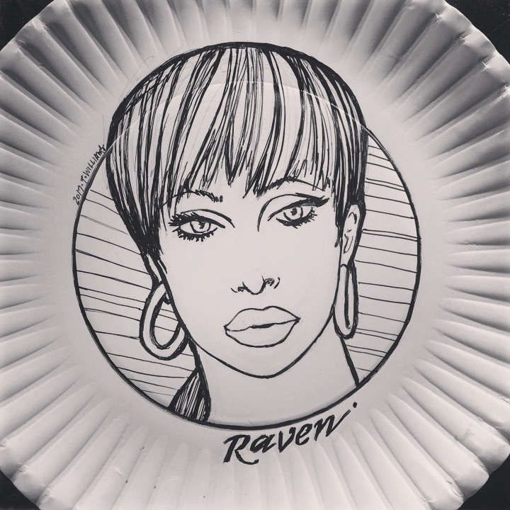 Raven drawn in ink on a paper plate.
