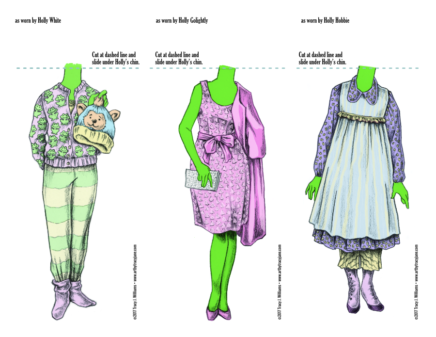 Holly paper doll costumes