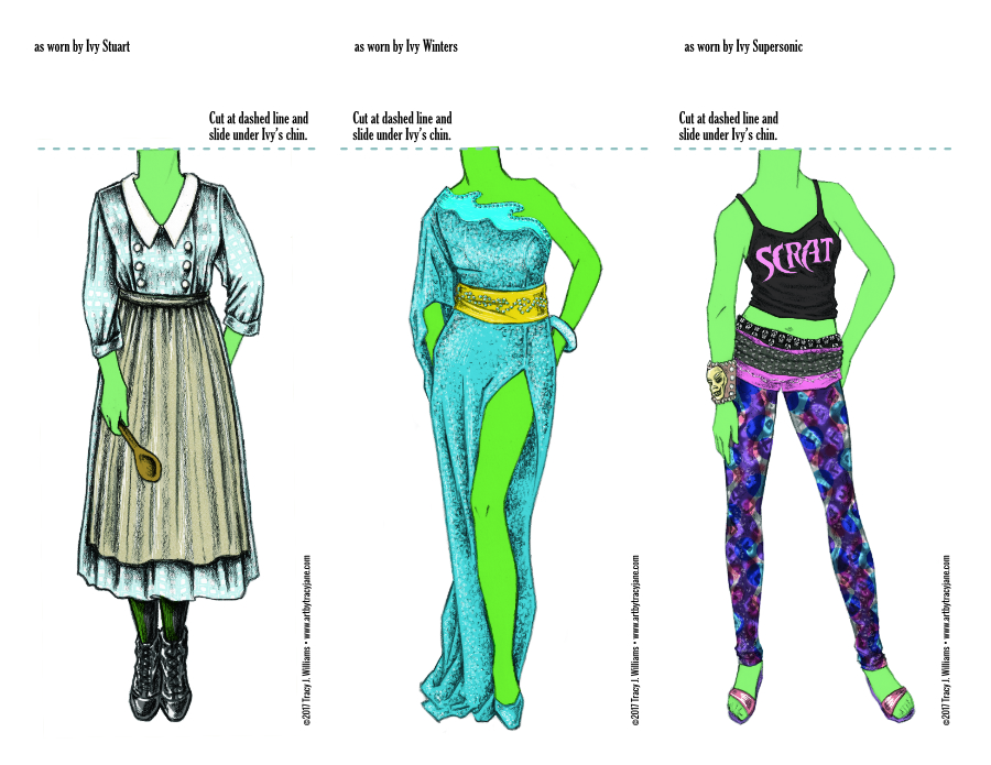"""Ivy costumes for Ivy in the """"Holly & Ivy"""" paper doll set."""