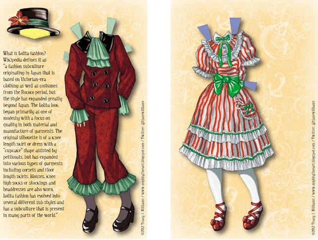 Red Kodona Lolita and Sweet Lolita costumes.