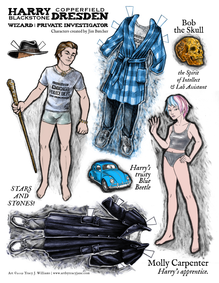 Harry Dresden paper doll set. Harry and Molly.