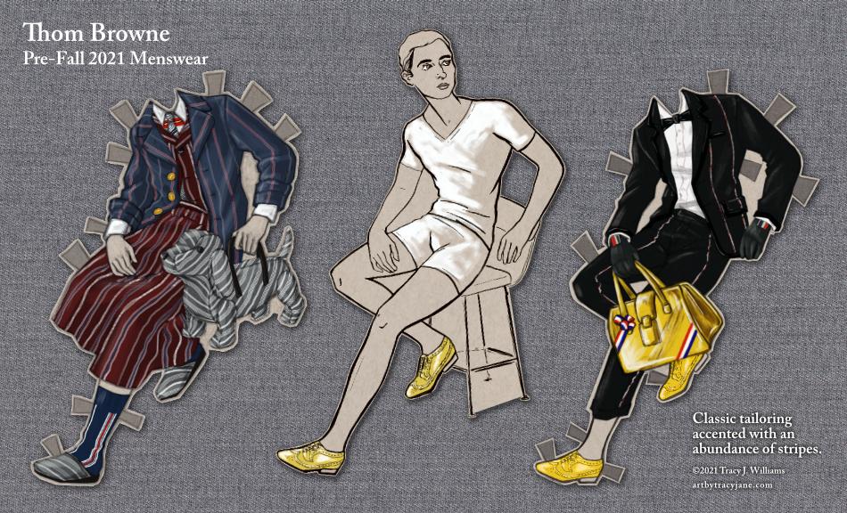 Thom Browne Menswear as a paper doll.
